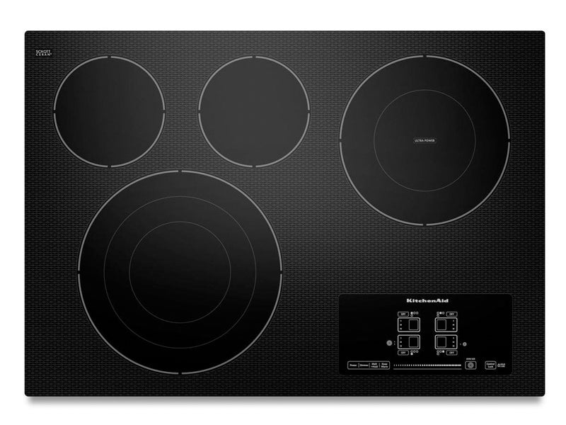"30"" KitchenAid Electric Cooktop with 4 Radiant Elements and Touch-Activated Controls - KECC607BBL"