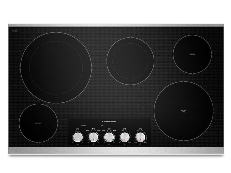 "36"" KitchenAid Electric Cooktop with 5 Radiant Elements - KECC664BSS"