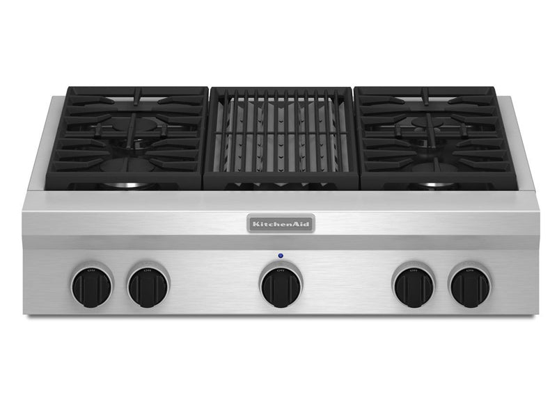 "36"" KitchenAid 4-Burner with Grill, Gas Rangetop, Commercial-Style - KGCU462VSS"