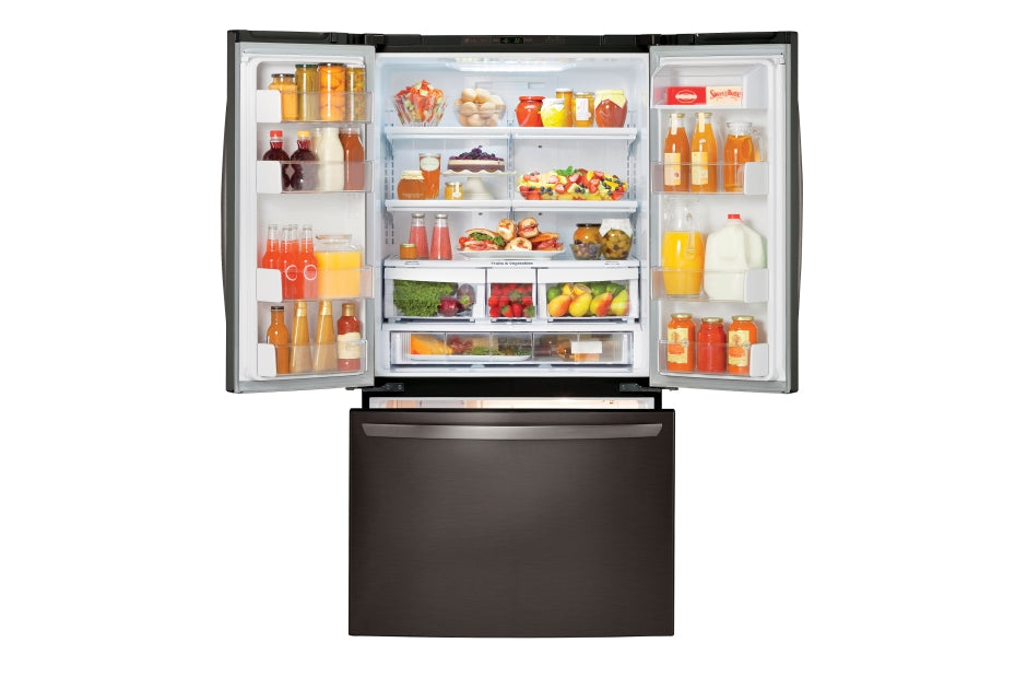 "36"" LG Black Stainless Steel Series 21 cu. ft. 3-Door French Door Counter-Depth Refrigerator LFC21776D"