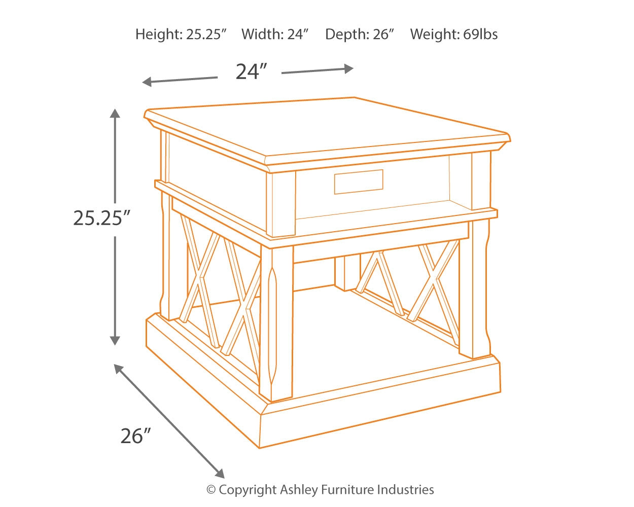 T701-3  Rectangular End Table