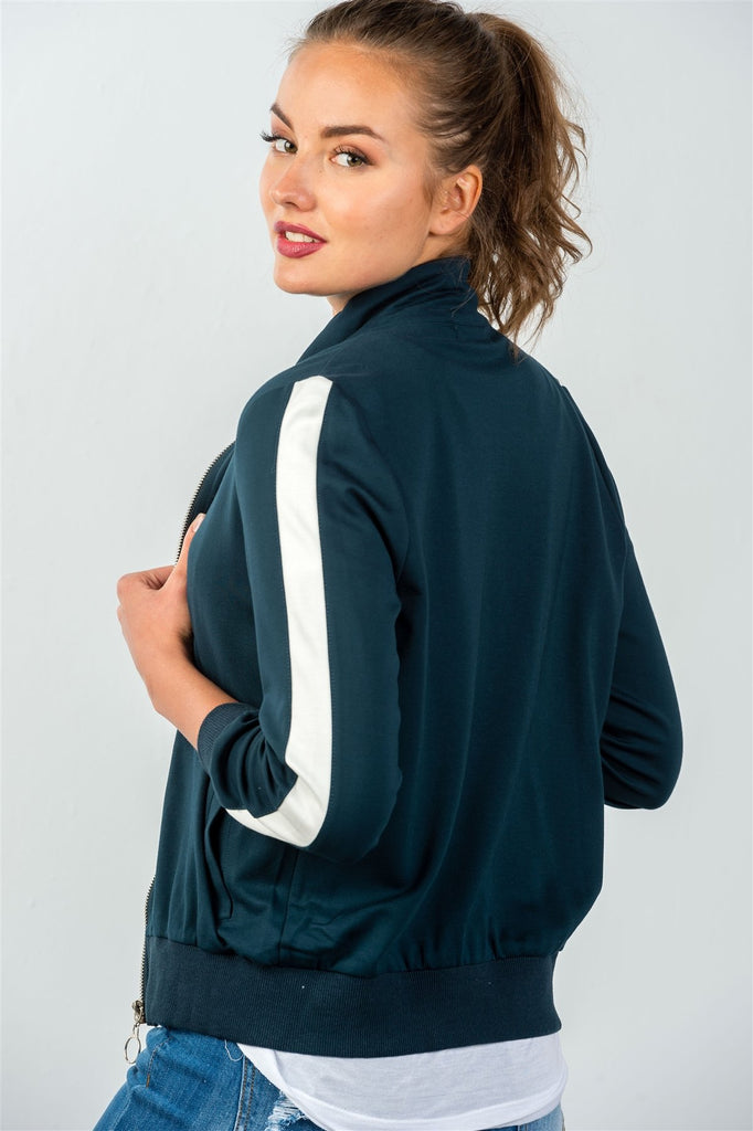 One Striped Sleeve Track Zip-up Jacket