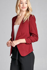 Open Front Jacket with 3/4 Shirring Sleeve