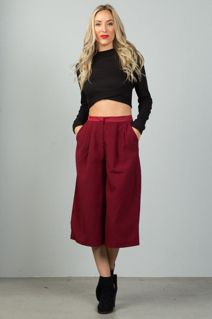 Wide Leg Culottes with Pleat Detail
