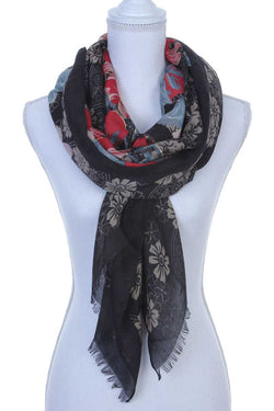 Floral Pattern Oblong Scarf - Start Living Natural
