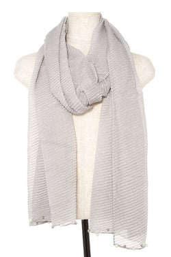 Pleated Pearl and Bead Accent Scarf - Start Living Natural