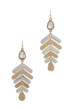 Rhinestone textured metal drop earring - Start Living Natural