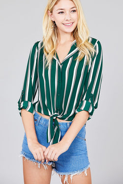 Notched Collar Multi Striped Top
