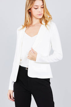 Long Sleeve Notched Collar Blazer