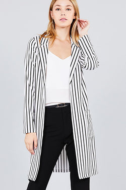Notched Collar Striped Long Jacket