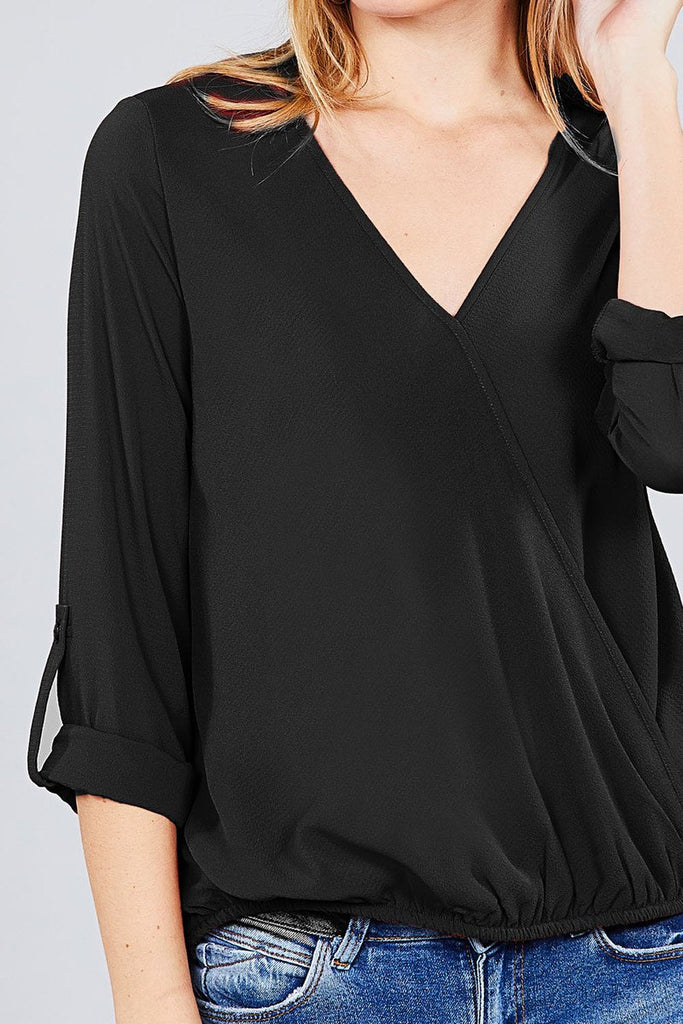 V-neck with Surplice Woven Top