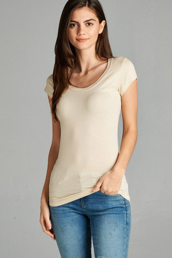 Short Sleeve Scoop-neck Tee