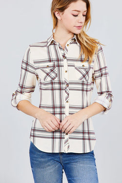 Plaid Knit Shirt - 3/4 Roll-up Sleeve