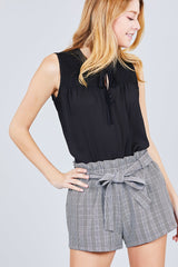 Sleeveless Ruffle Neck Woven Top with Self Tie