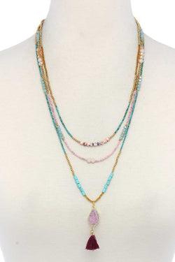 Faux Druxy Stone Tassel Beaded Layered Necklace