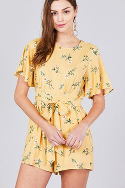 Floral Design Back Open Romper