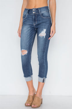 Skinny Jeans with Cuffed Hem - Start Living Natural