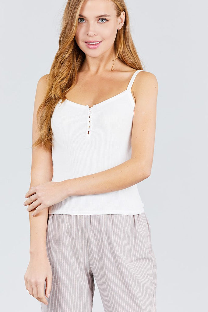 Cami Knit Top - Front Button Down