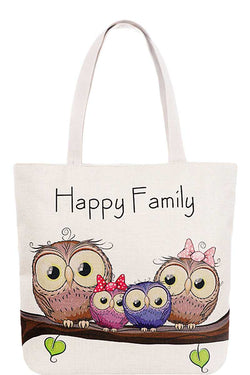 Owl Happy Family Canvas Tote Bag