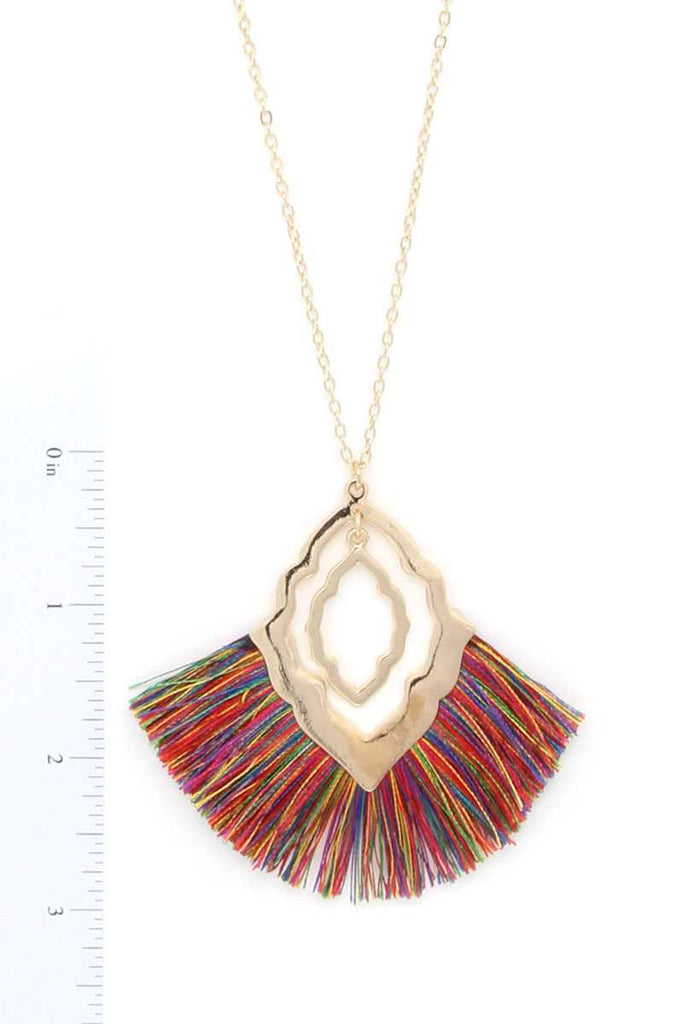 Moroccan Fan Tassel Pendant Necklace