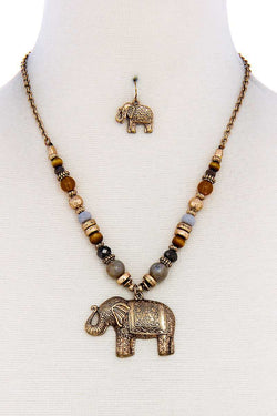 Elephant Pendant Necklace And Earring Set