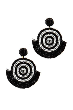 Chic Multi Bead And Fan Tassel Earring - Start Living Natural