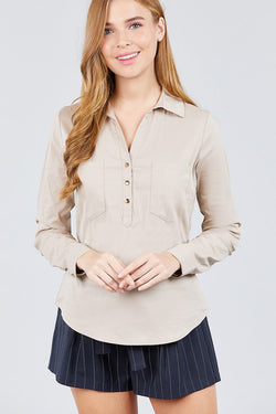 Stretch Shirt with Front Pockets - Start Living Natural