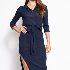 Collared V-Neckline Belted Dress - Start Living Natural