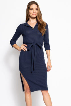 Collared V-Neckline Belted Dress