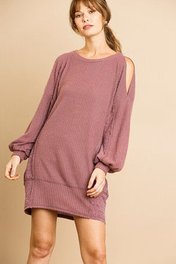 Waffle Knit Open Shoulder Dress - Start Living Natural