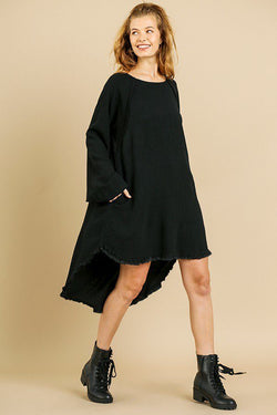 Puff Sleeve High Low Dress