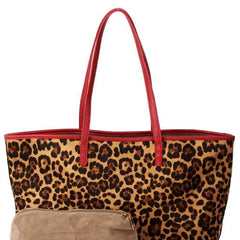 2-in-1 Leopard Suede Bag