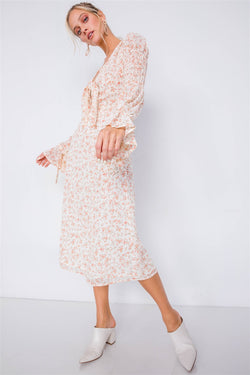 Minimalist Floral Cinched Puff Sleeve Dress - Start Living Natural