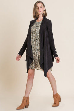 Soft Knit Long Sleeve Open Front Cardigan - Start Living Natural