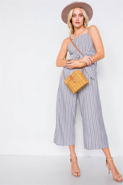 Stripe Front Open Back Jumpsuit