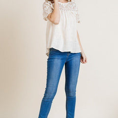 Sheer Floral Lace Yoke Keyhole Top - Start Living Natural