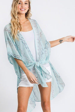 Chiffon Patterned Open Front Kimono - Start Living Natural