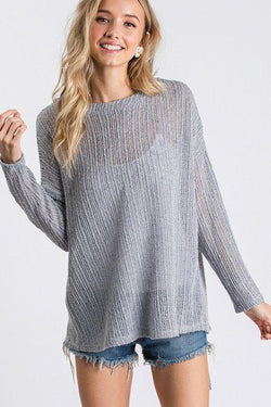 Open Back Long Sleeve Self Tie Top - Start Living Natural