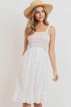 Striped Smocking Ruffled Hem Spaghetti Strap Dress - Start Living Natural