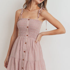 Smocking Button Down Dress - Start Living Natural