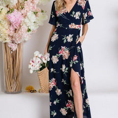 Spring Floral Flyaway Sleeve Wrap Maxi Dress - Start Living Natural