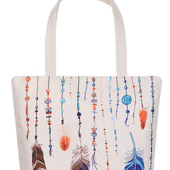 Stylish Multi Color Feather And Bead Print Ecco Tote Bag - Start Living Natural