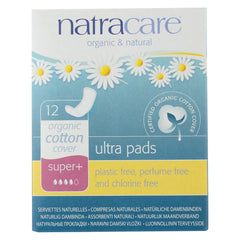 Natural Ultra Pads Super Plus w/organic cotton cover -  12 Pack - Natracare - Start Living Natural