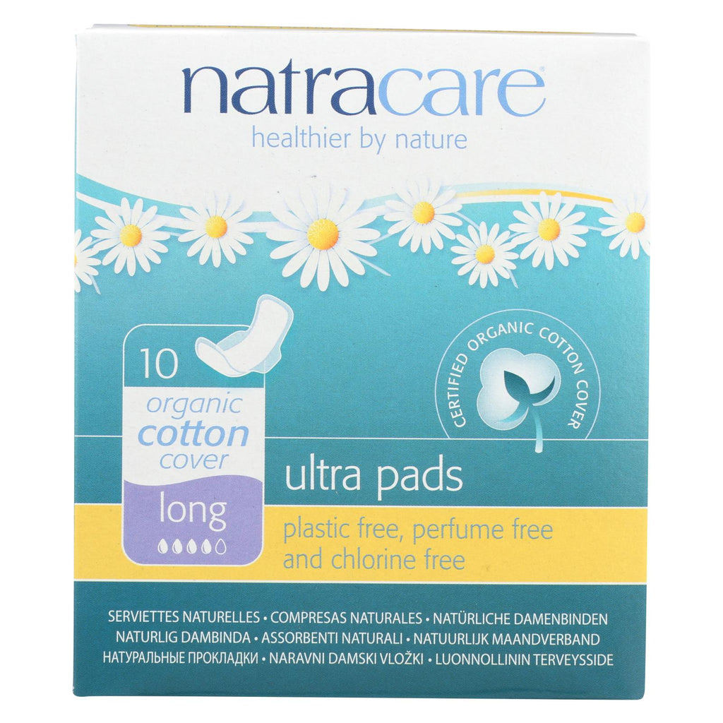 Natural UItra Pads w/wings - Long w/organic cotton cover - 10 Pack