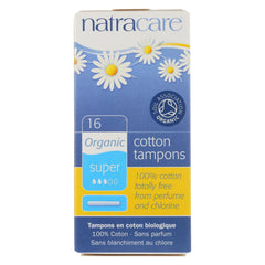 Natracare 100% Organic Cotton Tampons W-Applicator - Super