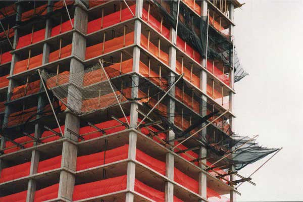 image of construction netting on a building