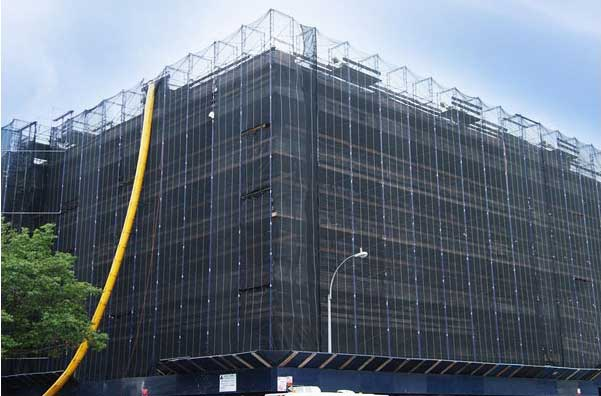 Debris Netting installed on a building