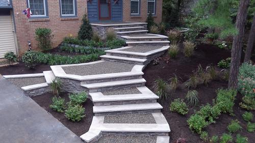 home front entry with gravel stairs