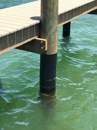 HDPE wrapped dock piling adds a protective layer to the post