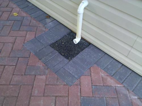 gravel lok used in exterior drain downspout